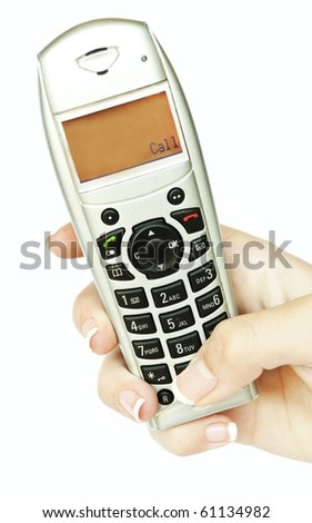 Phone in woman hand isolated on white background