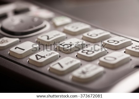 phone keypad with letters close-up macro shot, selective focusing