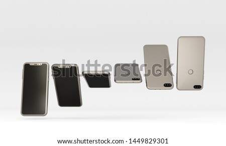 Phone, red smartphone on a white background. Different phone positions. 3d rendering. #1449829301