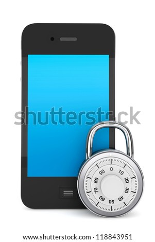 Phone Security concept. Mobile phone with Lock on a white background