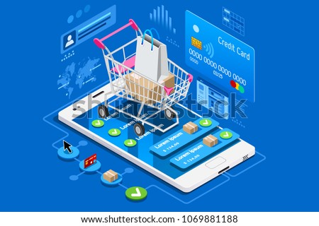 Phone shop with credit card on ecommerce interface. Can use for web banner, infographics, hero images. Flat isometric illustration isolated on blue background.