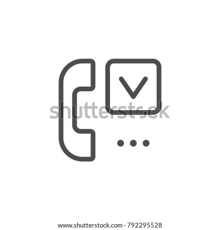 Phone survey line icon isolated on white. Vector illustration