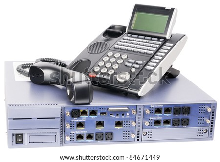 Phone switch system and digital off-hook telephone set  isolated on white