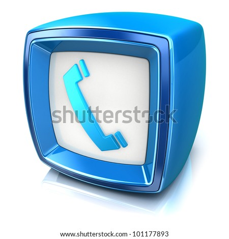 phone symbol on blue badge icon on white background. 3d render