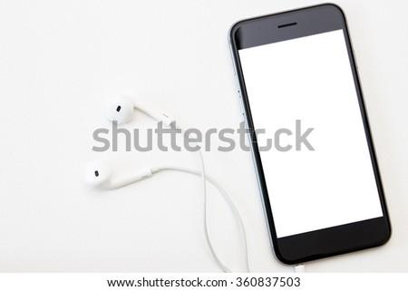 phone white screen and headphone