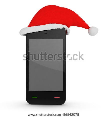 phone with xmas hat on white background