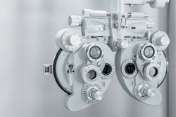 Phoropter, ophthalmic testing device machine, close up