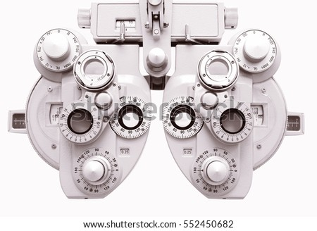 Phoropter, ophthalmic testing device machine,optometrist tool. #552450682