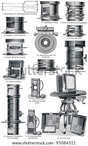 "Photo Accessories. Lenses. Publication of the book ""Meyers Konversations-Lexikon"", Volume 7, Leipzig, Germany, 1910"