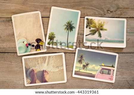 Photo album remembrance and nostalgia journey in summer surfing beach trip on wood table. instant photo of vintage camera - vintage and retro style #443319361