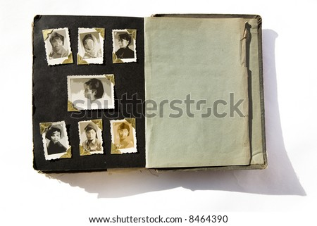 Photo Album with old stained photos, all photos have been blurred, so you can use the photo frame and put your photo in.