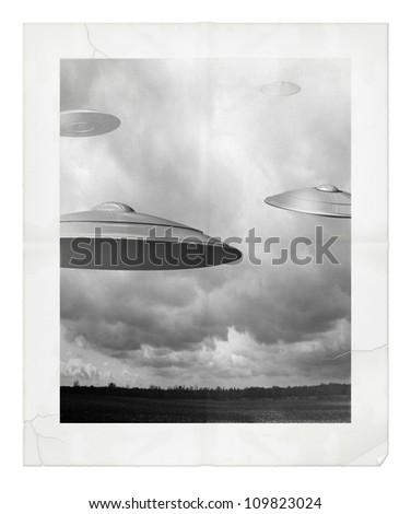 Photo and Digital Illustration of UFOs. - stock photo