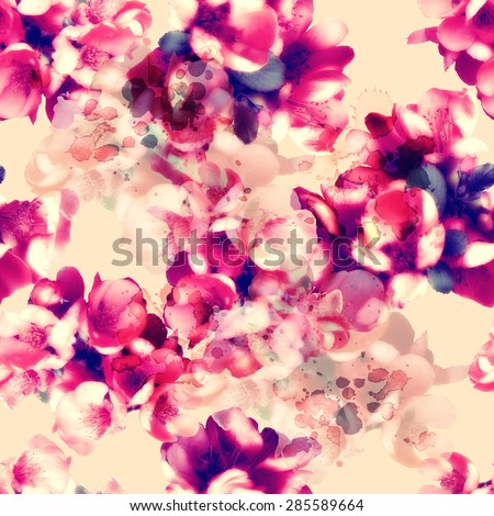 Stock Photo photo and watercolour seamless pattern with flowers - digital artwork