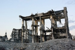 Photo background with ruins of a collapsed building