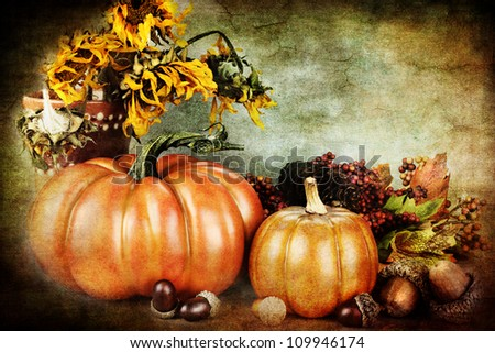 Photo based illustration of a beautiful autumn still life with copy space available.