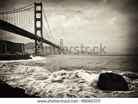 photo beautiful b&w golden gate bridge in san francisco - stock photo