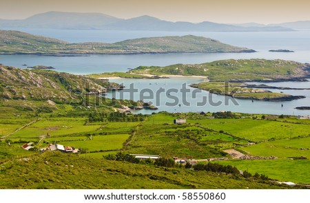 photo beautiful scenic rural landscape from ring kerry ireland. wild atlantic way