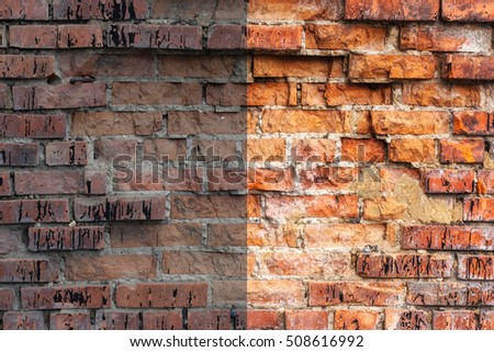 Photo before and after the image editing process. Weathered stained old orange and red brick wall, texture grunge background