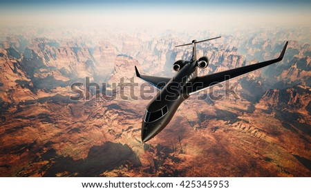 Photo Black Matte Luxury Generic Design Private Jet Flying in Sky under the Earth Surface. Grand Canyon Background. Business Travel Picture. Horizontal, front top angle view. Film Effect. 3D rendering