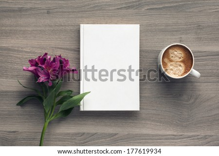 Photo blank book cover on textured wood background with spring flower and cape of coffee #177619934