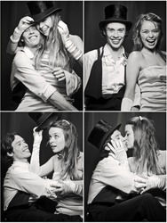 Photo booth picture of newlywed couple