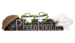 Photo booth sign with fancy dress hats cutout