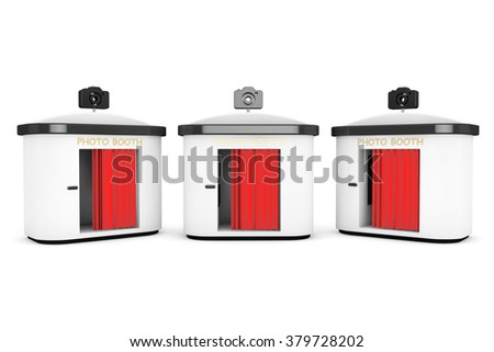 Shutterstock Photo Booth with Red Curtain on a white background