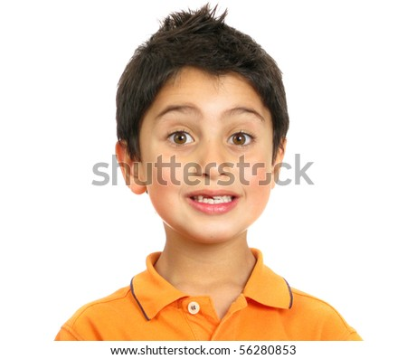 Photo boy surprised to show tooths and eyes - stock photo