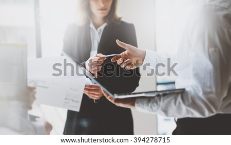 Photo business partners meeting. Team presentation. Business woman giving card colleague. Presentation new project modern office. Blurred background, film effect, horizontal #394278715