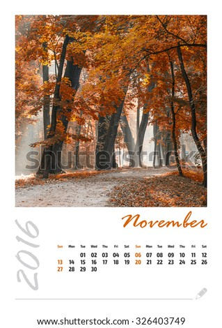 Photo calendar with beautiful minimalist landscape 2016. November