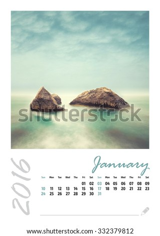 Photo calendar with minimalist landscape 2016. January.