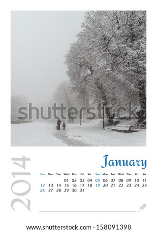 Photo calendar with minimalist landscape 2014. January. Version 2