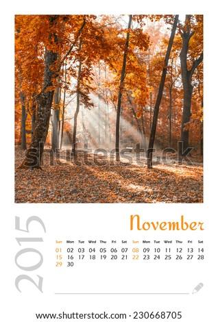 Photo calendar with minimalist landscape 2015. November