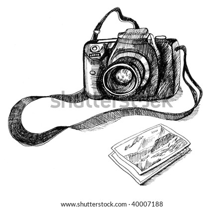Photo camera. Illustration. - stock photo