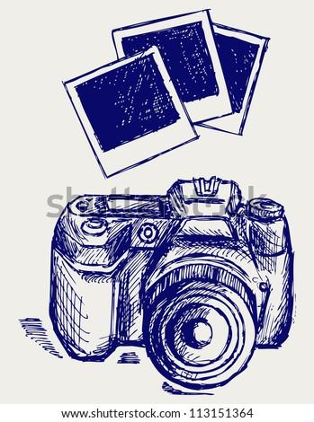 Photo camera illustration. Raster version