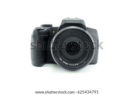 Photo camera isolated on white background. Modern ultra zoom photo camera front view.