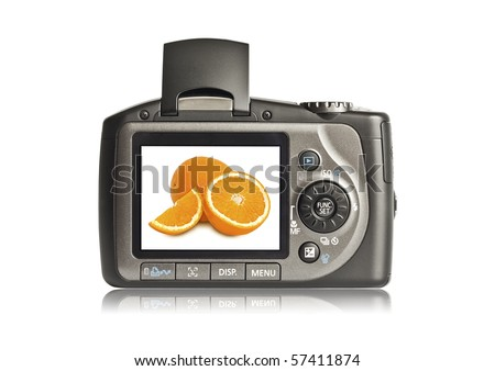Photo camera on white background