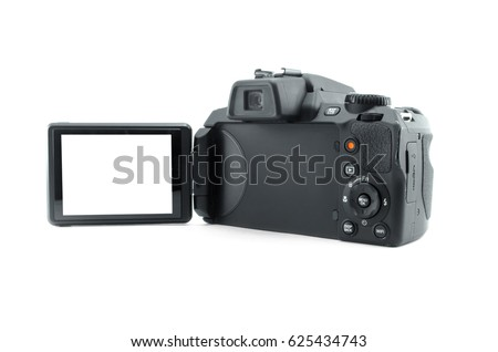 Photo camera with blank display screen isolated on white background. Modern ultra zoom photo camera back side view.
