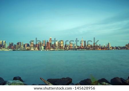 photo capture of new york city skyline at evening