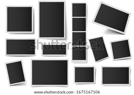 Photo card frames. Rectangular instant photos, square snapshot frame and photo snap with realistic shadow  set. Empty 3d frames collection. Blank borders isolated on white background ストックフォト ©