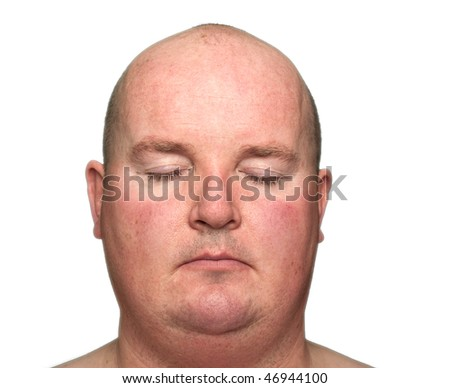 photo close-up of an overweight male, eyes closed