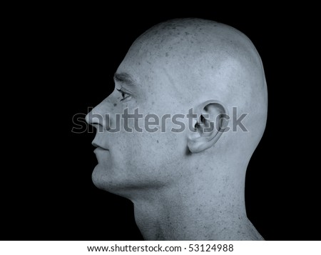photo close up picture of a male head from side on black
