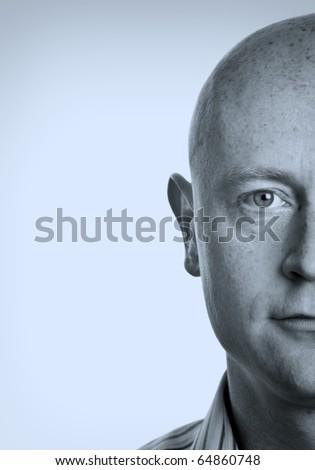 photo close up shaved male half head portrait