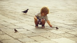 Photo closeup of cute fair-haired blond kid tiny little child baby boy feeding birds with bun sitting on haunches on flag-stone pavement cityscape on blurred grey background, horizontal picture