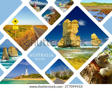 Photo collage Australia. Great Ocean Road and 12 Apostles. Travel concept