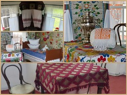Photo collage Clean (White) part of peasant`s house. Cenacle. Interior of a peasant izba. Ural painting is a unique folk art. Museum-reserve of wooden architecture and folk