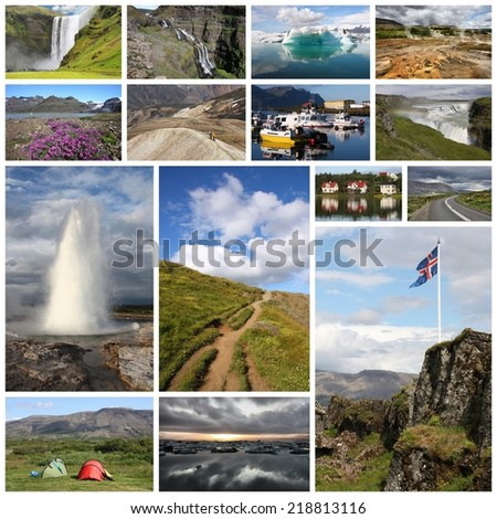 Photo collage from Iceland. Collage includes major natural landmarks like the geyser, Landmannalaugar mountains and Jokulsarlon lagoon.