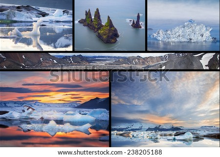 Photo collage from Iceland. Collage includes major natural landmarks like the Jokulsarlon  and Vik