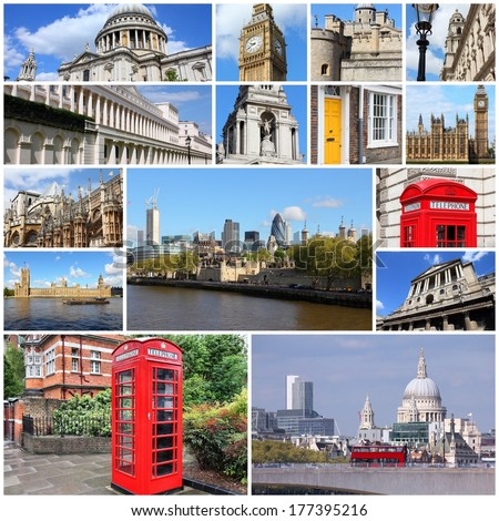 Photo collage from London, UK. Collage includes major landmarks like Big Ben, Saint Paul's Cathedral and red telephone booths.