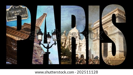 Photo collage letters PARIS, isolated on black background